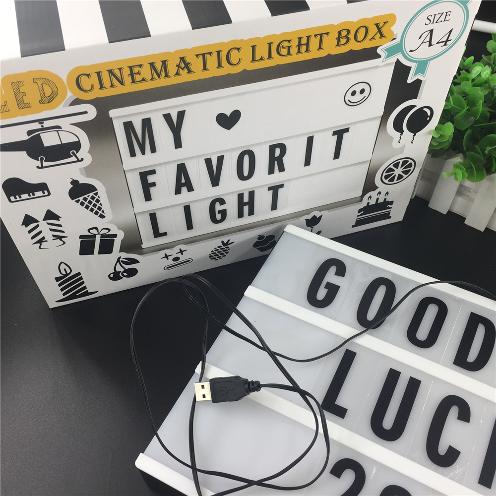 A4 LED Lightbox 90 170 175Letter symbol Wedding Party Cinema Sign DIY Messages photography studio Easter Battery and USB powered in LED Night Lights from Lights Lighting