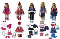 5 PCS Doll Clothes+2 Pairs Glasses+5 Pairs Shoes+3 Tights+5 Bag+2 Hat for 18'' American Girl Bitty Baby Doll S20