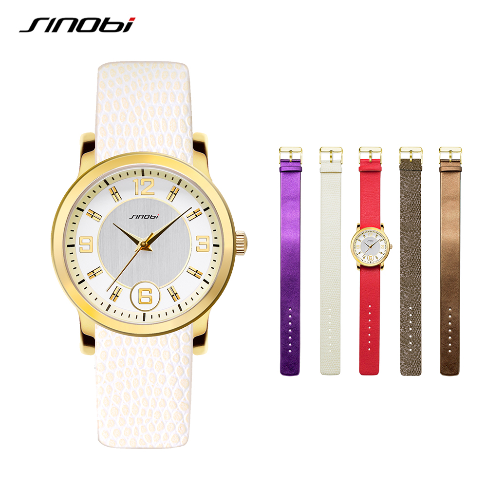 SINOBI Multicolor Women Leather Watches Set Luxury Quartz Watch Ladies Wrist Watch Female Clock 2018 Relogio Feminino #5169 relogio feminino sinobi watches women fashion leather strap japan quartz wrist watch for women ladies luxury brand wristwatch