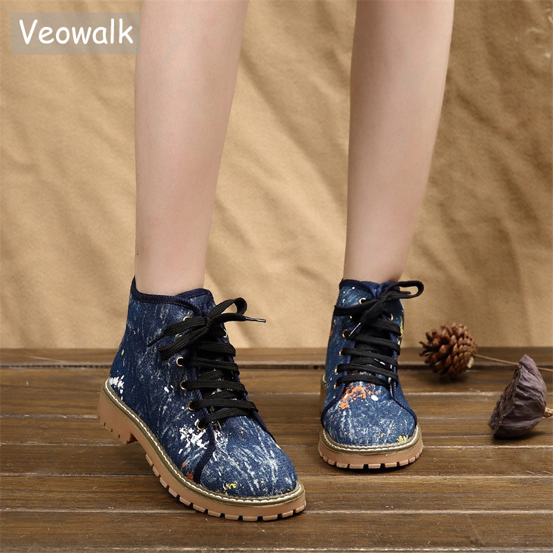 Veowalk Women Floral Embroidered Lace Up Canvas Short Motorcycle Boots Ladies Denim High Top Shoes Jeans Flat Platform Booties lace up design random floral print off the shoulder short sleeves top