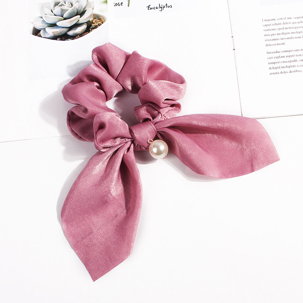 2019 Hair Bow Scrunchie For Women Solid Pearls Elastic Hair Bands Chiffon Hair Rope Tie Ponytail Holder Hair Accessories