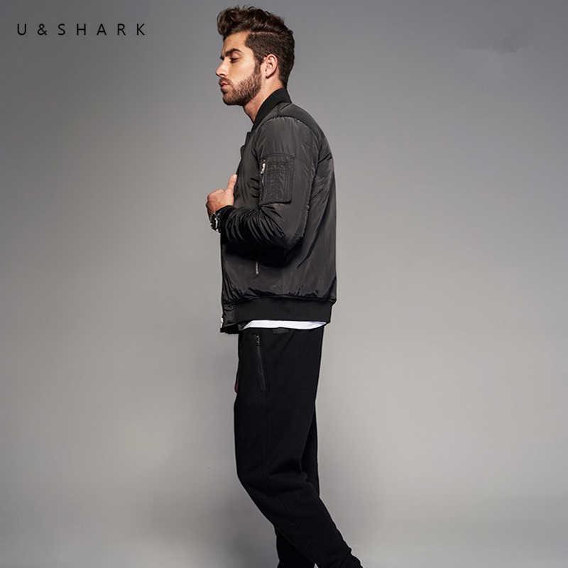 U & SHARK/Новая Осенняя мотоциклетная мужская куртка в стиле ретро черного цвета модная ветрозащитная куртка-бомбер мужская куртка высокого качества MA-1 Pilot Flight