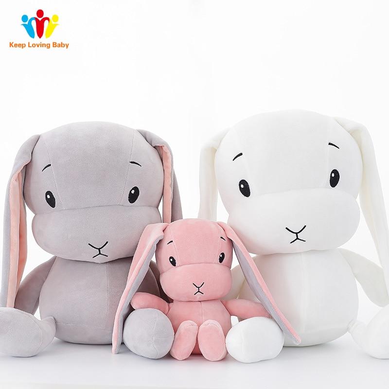 Newborns Baby Pillow Room Decoration Plush Toys Infant Kids Rabbit Baby Bedding sleep toys doll For Boy bunny baby room decor(China)