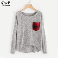 Dotfashion Contrast Pocket Dip Hem Marled Knit Sweater Ladies Grey Pullovers 2017 Round Neck Long Sleeve Loose Sweater