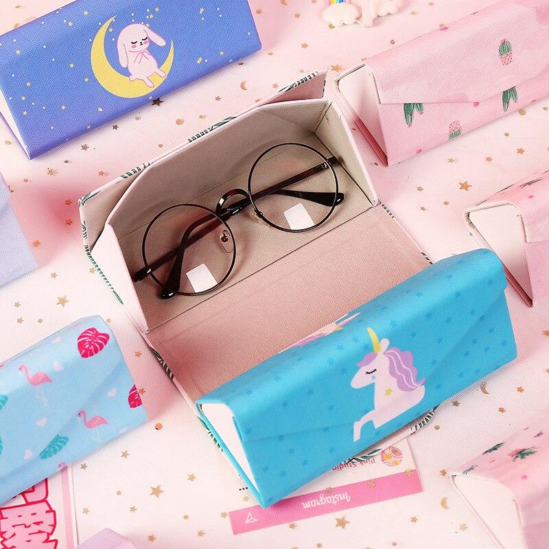 1 Pcs Protable Einhorn Flamingo Kaktus Katze Sonnenbrille Fall Unisex Folding Brillen Box Pu Brillen Schutz Lagerung Tasche Tasche