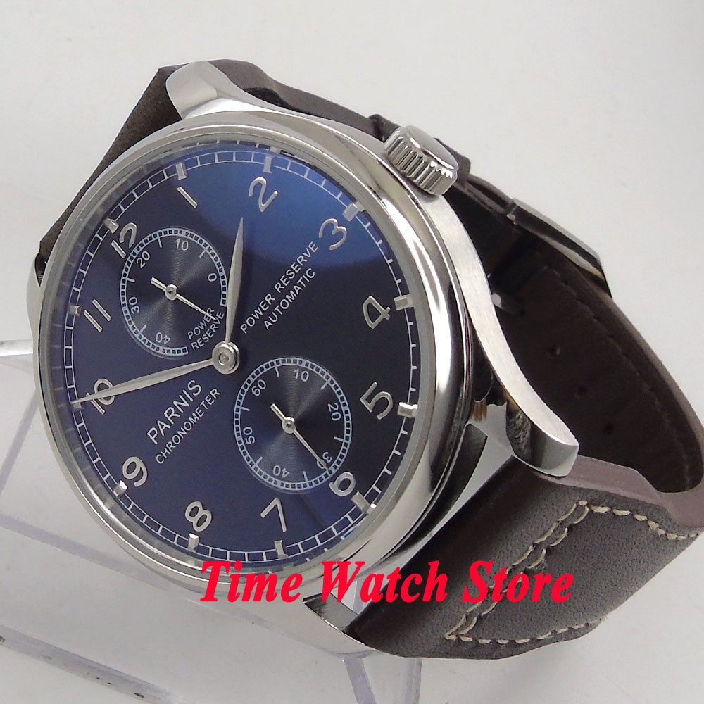Parnis 43mm black dial silver hands power reserve cow leather strap ST2542 Automatic mens watch P100 цена и фото