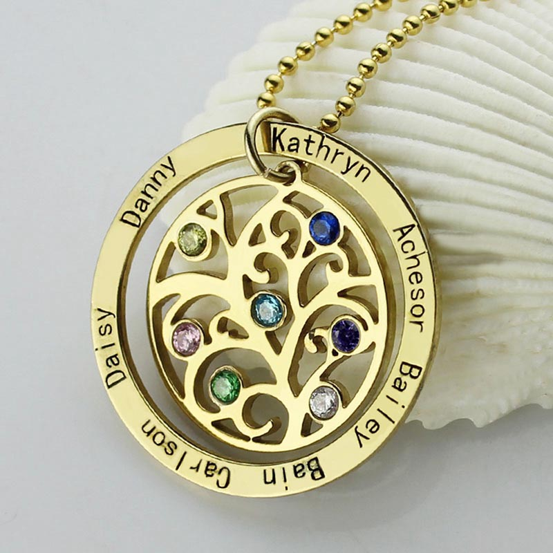 StrollGirl 925 Sterling Silver Personalized Circle Family Tree Birthstone 7 Names Necklace for Women Sterling Silver Jewelry in Pendant Necklaces from Jewelry Accessories