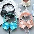 Luxo belo headband stereo headphones w/microfone com fio portátil fone de ouvido para o telefone móvel iphone samsung presente de ouro rosa