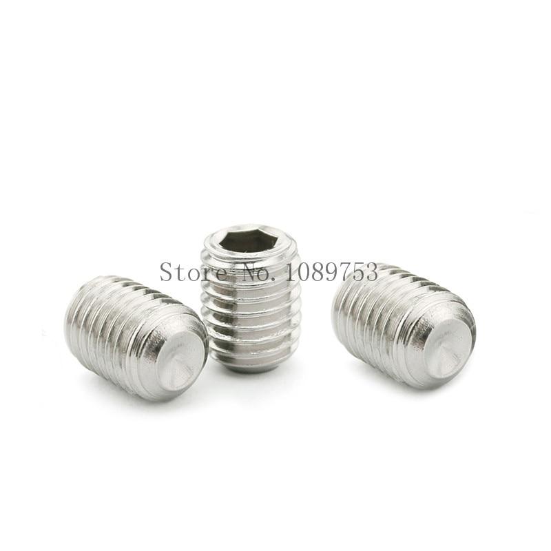 50Pcs M2.5 M3 M4 M5 304 Stainless Steel Metric Thread Grub Screws Flat Point Hexagon Socket Set Screws Headless niko 50pcs chrome single coil pickup screws