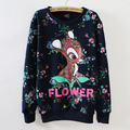 2016 fall/winter new thicken sweatshirts for women high quality cartoon flower printing pullover sweatshirts 4 colors