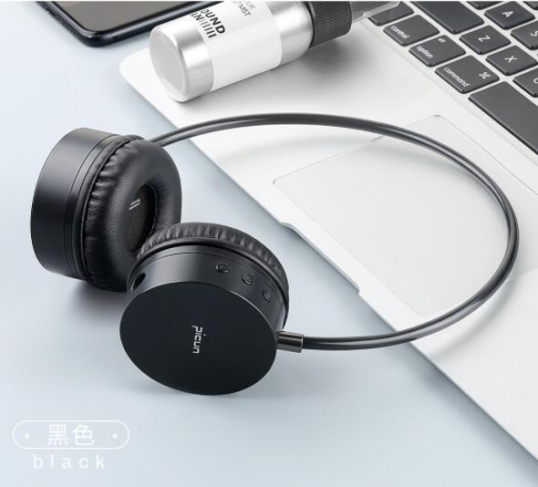 Picun B20 Bluetooth Wireless Headset Leather Stand Metal Case Headphone Microphone Connect Mobile Phone