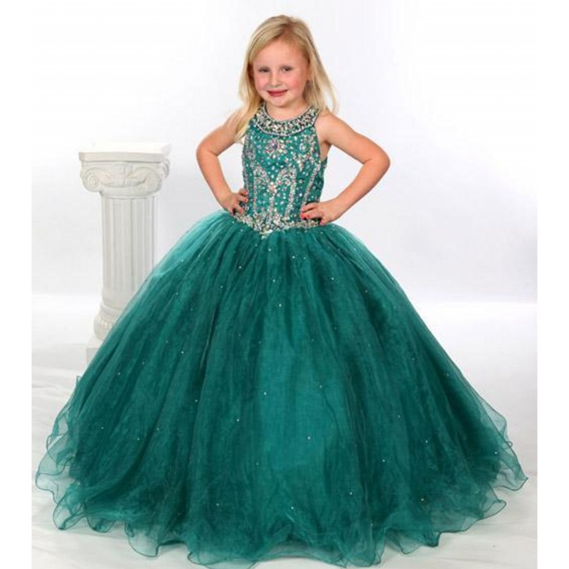 55622811abd5f Hunter Green Flower Girl Dresses Ball Gown Beaded Scoop Little Girls  Pageant Dress with Keyhole Back-in Flower Girl Dresses from Weddings    Events on ...