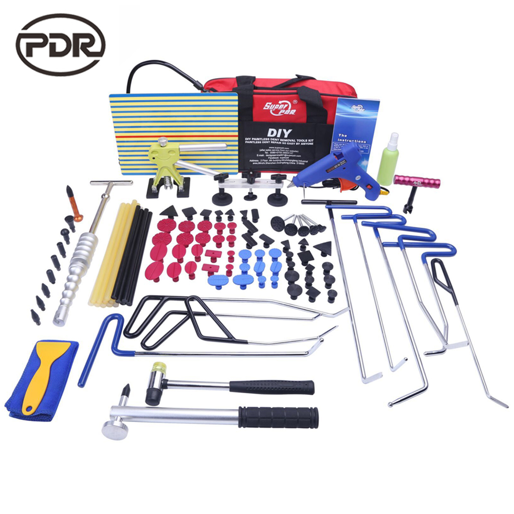 PDR Rods Hook Tools Tool To Remove Dents Removing Fix Dents Car Repair Kit Tools Dent Puller Glue Tabs Suction Cups pdr hook tool set b4