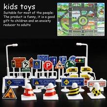 83*57CM Kids Toys City Parking Lot Roadmap Map DIY 28 Pcs Road Signs Car Model Climbing Mats English Version Gift for Child