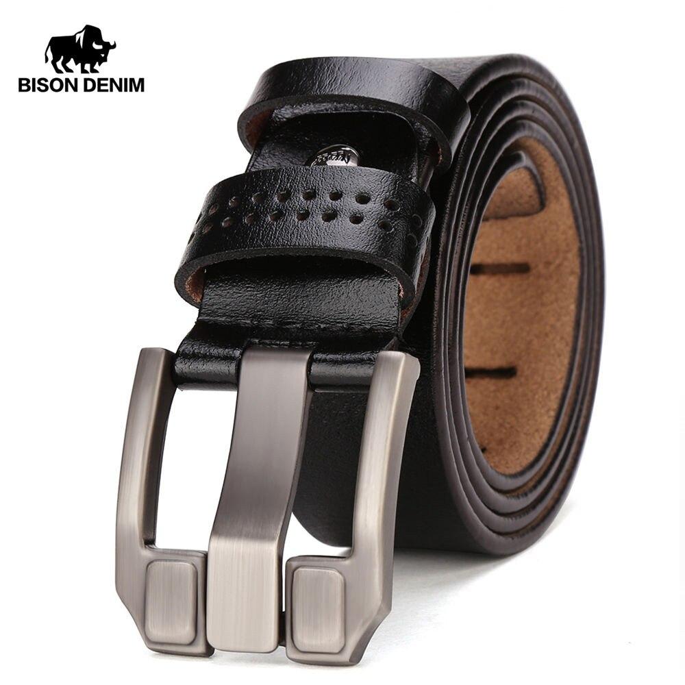 BISON DENIM Men's Leather   Belts   For Men Vintage Pin Buckle Waistband Strap Jeans   Belt   For Male Cowhide   Belt   N71018