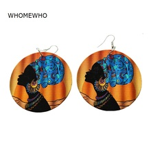 60cm Wood Africa Black Beauty Queen Crown Afro Rock Earring Vintage Wooden African Hiphop Tribal Party Club Ear Silver Jewelry