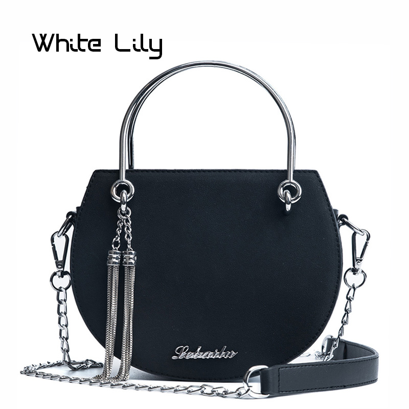 New Fashion Delicate Mini PU Leather Women's Handbag Metal Chain Tassel Shoulder Crossbody Bag Ladies Small Round Package(China)