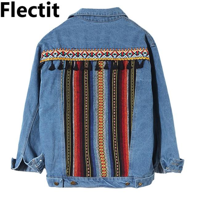 a5b2b99529b Flectit Women Tribal Embroidery Patch Denim Jacket with Tassel Stripe Jeans  Jacket Female 2019 Spring