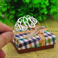 Handmade Monogram Name Bracelet Thin Bangle Personalized 3 Initial Engraved Nameplate Jewelry Christmas Gift