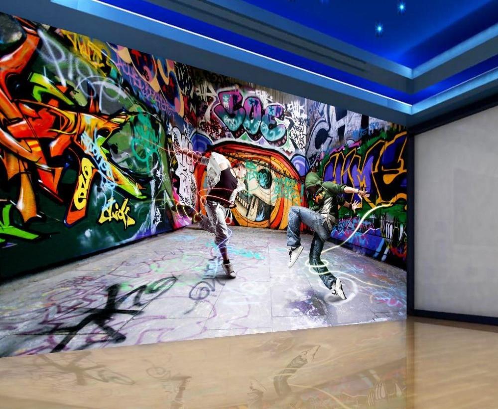 Dança juventude graffiti mural pano de fundo 3d estereoscópico papel parede mural decoração da sua casa