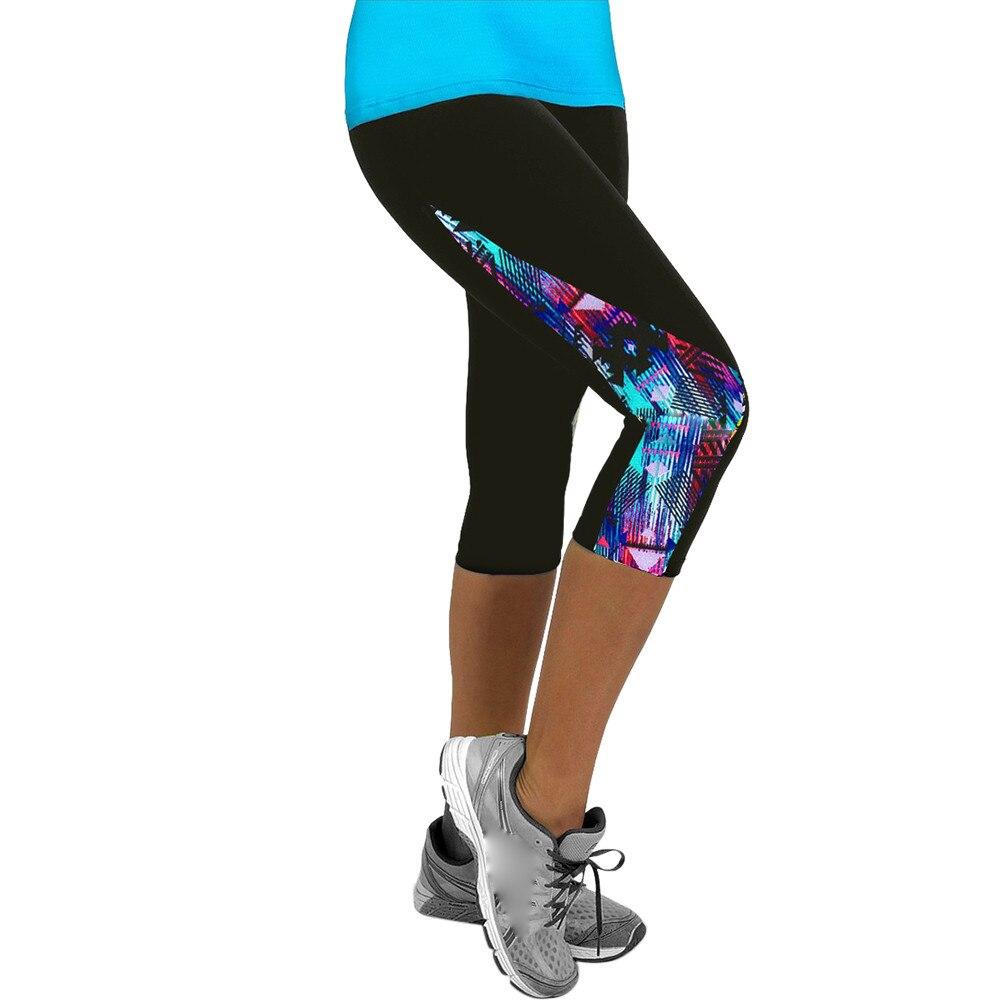 Women Floral Leggings High Waist Print Sports Fitness Leggings Gym 3/4 Slim Ladies Cropped Pants Feminino Leggins #T1P