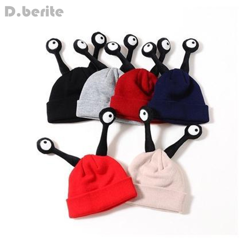 Children's Hats Baby Caps Winter Cute Eyes Insect Kids Hats For Girls Bonnet Warm Knitted Baby Hat For Girl Boys GPD8308 2017 yhkgg the girl s hat warm and comfortable in winter hats the ornament of a flower cute baby hat knitting hat