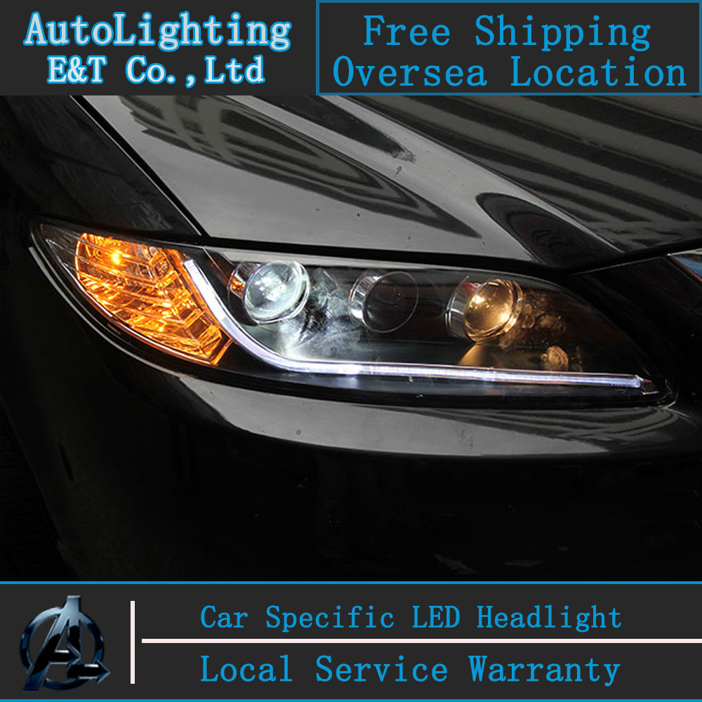 car styling mazda6 headlights 2003 2013 mazda 6 led headlight drl automobiles led lamp h7 hid bi xenon lens angel eye low beam in car light assembly from  [ 1000 x 1000 Pixel ]