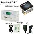 Lanterna carregador de bateria soshine s7 display lcd com entrada usb para bateria de iões de lítio 18650 18350 14500 16340 aa aaa nimh carregador