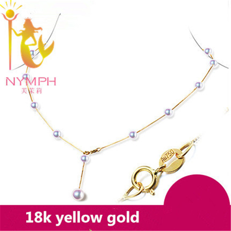 NYMPH 18K Gold Jewelry Natural Akoya Pearl Necklace Pendant With 18k Yellow Gold/Au750 Chain Trendy Wedding Gift For Love[x2001] недорого