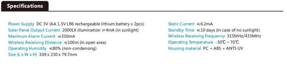 Solar Siren specification