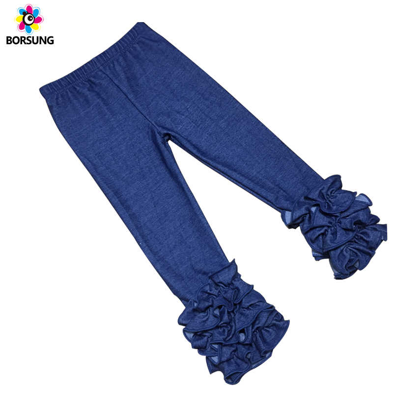 Children Knit Denim Ruffle Pants Fall Winter Baby Girl Full Length Pants Blue Cotton Ruffle Toddler Girls Leggings Kids Trousers