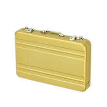 Aluminum password box Card Case Mini suitcase Password briefcase Gold(China)
