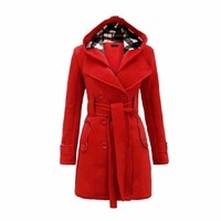 2018 Autumn Winter Women Fashion Long Wool Coats Red Outerwear Female Coat with Hat Casual Jackets Warm Fleece For Lady Overcoat