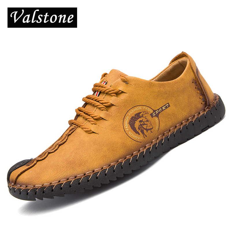 172394ef1 Valstone горячая Распродажа Повседневная кожаная обувь Для мужчин 2018  Весна ручной Винтажная обувь на шнуровке лоферы