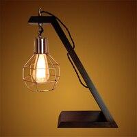 Vintage hout houten lampen oude creatieve persoonlijkheid Cafe boek bureaulamp bedlampje desktop decoratie licht
