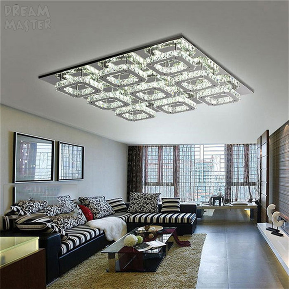 Luxury Large Modern Led Ceiling Chandelier Light K9 Crystal Square Leds Chandeliers Art