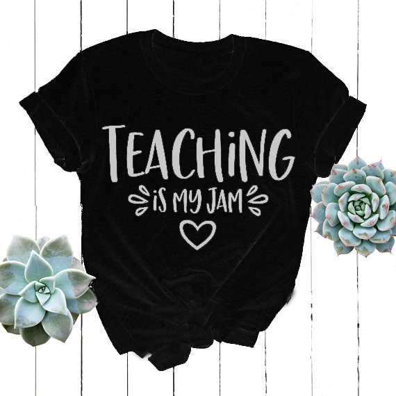 6f2311991 ... Funny Casual Short Sleeve Gray Shirt Teaching is My Jam T-Shirt Hipster  Aesthetic Tumblr ...