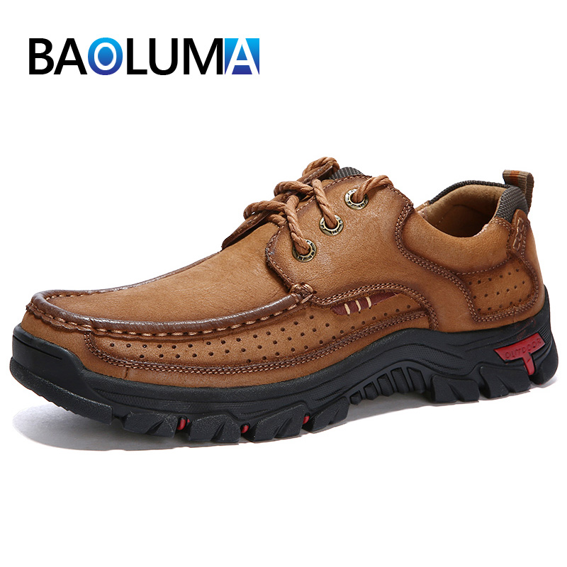 High Quality Men's Casual Shoes 100% Genuine Leather Shoes Outdoor Hiking Work Shoes Lace-Up Cow Leather Shoes Plus Size 38-48