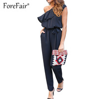 Forefair Trendy Off Shoulder Ruffle Jumpsuit Womens Elegant Casual Lace Up Waist Rompers Slash Neck Chiffon