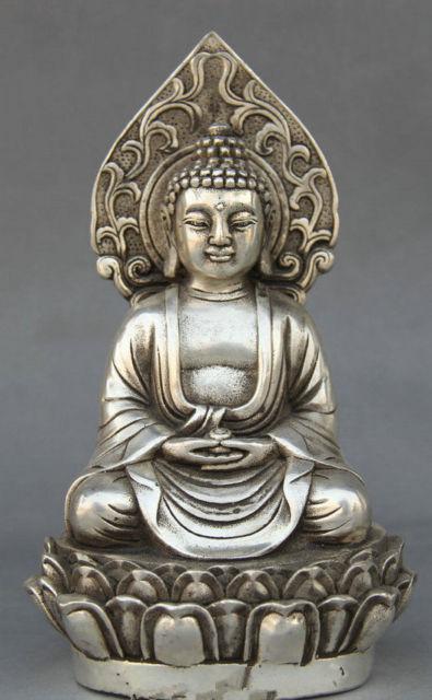 Delicate Tibetan Buddhism Silver Shakyamuni Amitabha Buddha Seat StatueDelicate Tibetan Buddhism Silver Shakyamuni Amitabha Buddha Seat Statue