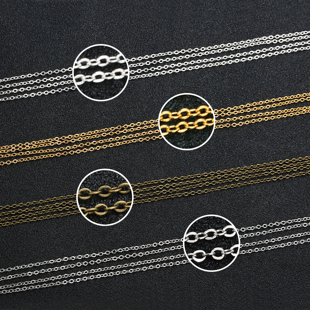 5 Meters/lot Gold Silver Rhodium Antique Bronze Color 1.5mm Copper Link Bulk Chain for DIY Necklace Jewelry Making Materials 5 meters 2 3mm 3 4mm metal necklace chains bulk fit bracelets necklace chain silver color link chain for diy jewelry making z821
