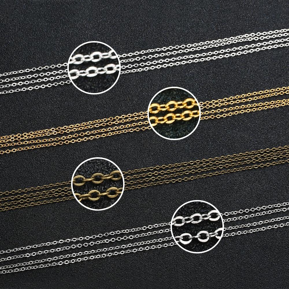 купить 5 Meters/lot Gold Silver Rhodium Antique Bronze Color 1.5mm Copper Link Bulk Chain for DIY Necklace Jewelry Making Materials по цене 152.99 рублей