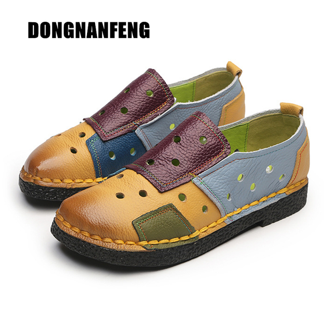 71e418d4d70 DONGNANFENG Women Mother Female Ladies Shoes Flats Hollow Slip On Round Cow  Genuine Leather Mixed Colors Size 35-40 OL-2099-1