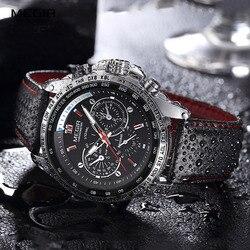 MEGIR Watch Men Military Quartz Watch Mens Watches Top Brand Luxury Leather Sports Wristwatch Date Clock relogio masculino 1010