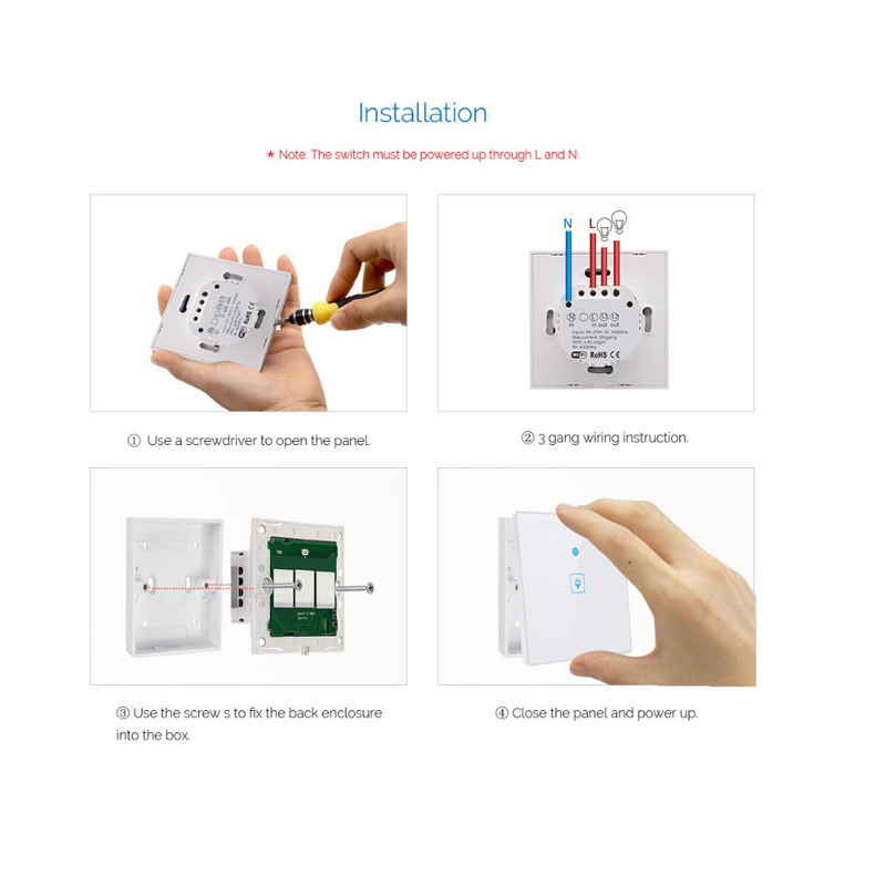 Image 5 - Ewelink Touch Switch Wifi 2.4G Smart Home Touch Switch Wall Panel EU /UK Standard Smart Led Wifi Control Alexa-in Home Automation Modules from Consumer Electronics