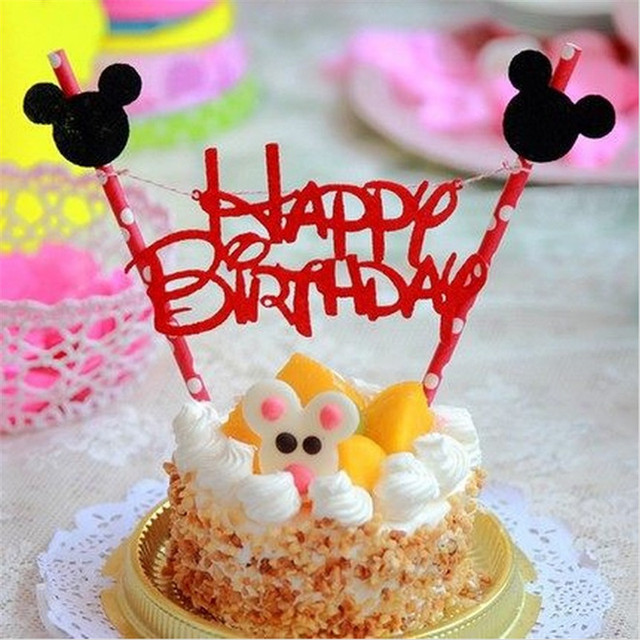 1set Mickey Mouse Theme Happy Birthday Cupcake Cake Topper Cake Flags Paper  Baking Supplies Baby Shower
