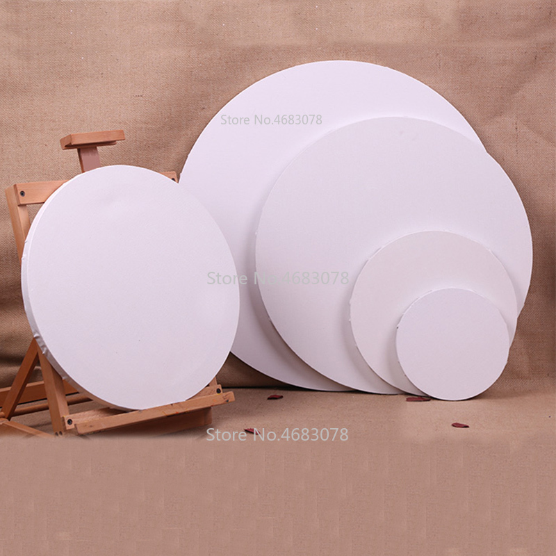 4 Pieces Circular Cotton Wood Frame For Canvas Oil Painting Artist Painting Canvas Blank Cotton Canvas Panels Wholesale