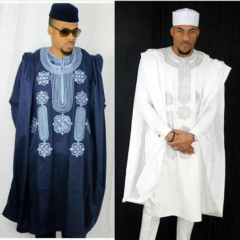 Afrique hommes dashiki bazin riche costumes hauts chemise pantalon 3 pièces ensemble broderie bleu marine noir blanc africain hommes vêtements robe