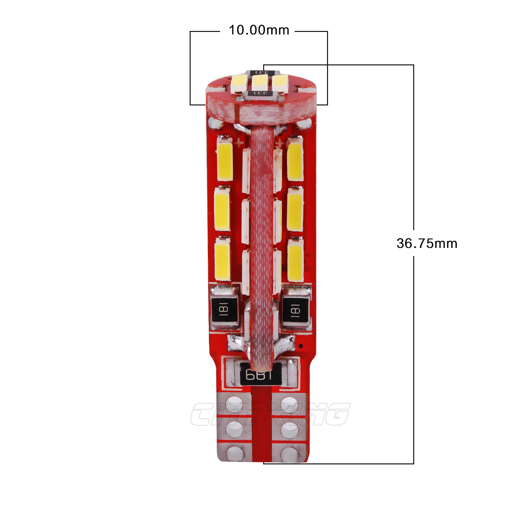 2PCS / LOT T10 led CANBUS LED 27smd 4014 SMD WHITE LIGHTTS ERRO FREE - Автомобилни светлини - Снимка 2