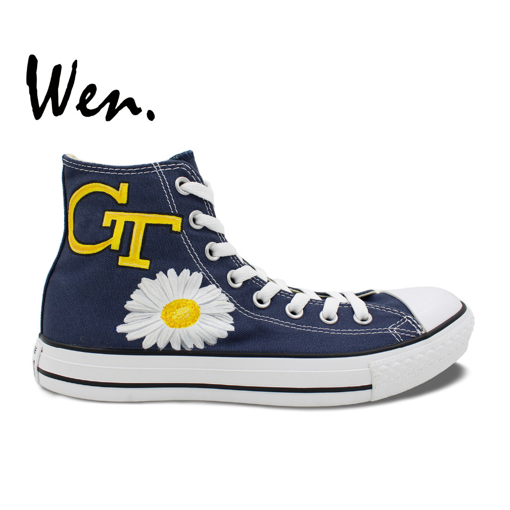 ФОТО Wen Hand Painted Shoes Design Custom Georgia Tech Yellow Jackets Man Woman's High Top Blue Canvas Sneakers